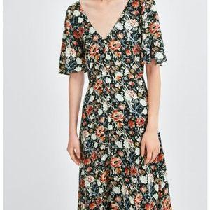 Zara floral print thread trims midi button  dress
